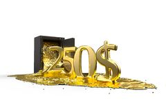 Safe and liquid gold. Gold rises 250 dollars. path included. Royalty Free Stock Photo