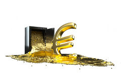 Safe and liquid gold. Gold rises euro symbol. path included. Royalty Free Stock Photos