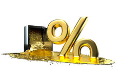 Safe and liquid gold. Gold rises percent sign. path included. Stock Photo