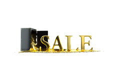 Safe and liquid gold. Gold rises sale symbol. Path included. Royalty Free Stock Images