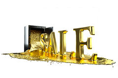 Safe and liquid gold. Gold rises sale symbol. Path included. Stock Photos