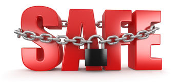 Safe and lock (clipping path included) Royalty Free Stock Images