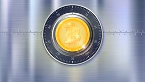 Safe lock with crypto currency coin of bitcoin with metal surface with texture and rivets. Realistic metallic Royalty Free Stock Photos