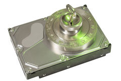 Safe lock secures hard disc in green Royalty Free Stock Photo