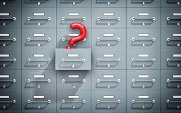 Safe lockers one of which open with question mark Stock Photo