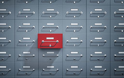 Safe lockers and one of which open and red Stock Image