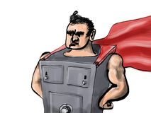 Safe-man superhero Stock Photo