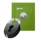 Safe mit Codeverriegelung und -vorhängeschloß Stockfotografie