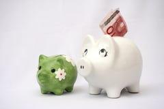 Safe mit zwei Schweinen Lizenzfreies Stockfoto
