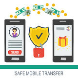 Safe mobile money transfering Stock Image