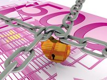 Safe money. Euro bill and crossed chains with lock. High quality 3d render royalty free illustration