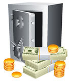 Safe and money. Opened safe, packs of money and golden coins Royalty Free Stock Photography