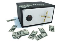 Safe with money. Black safe with money isolated on white Royalty Free Stock Photography