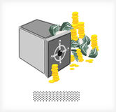 Safe with money and coins A Royalty Free Stock Photo