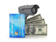 Safe money concept illustration. Security camera, dollar bills and credit card on white background Stock Image