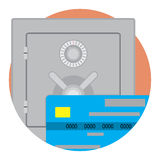 Safe money on credit card icon vector. Business finance security illustration Stock Photos