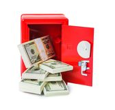 Safe with money. Isolated on white background Royalty Free Stock Image