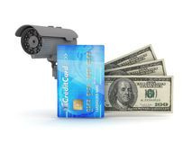 Safe money - security cam, credit card and dollar bills Royalty Free Stock Image