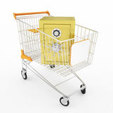 Safe money in shopping cart Stock Photos