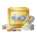Safe And Money Stacks Vector. Safe, Coins And Dollar Banknotes Stacks Isolated Illustration. Finance Banking Concept. Steel Safe Security Concept Vector. Metal Stock Photography