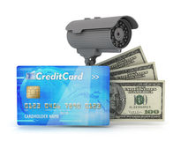 Safe money - surveillance camera and dollars Royalty Free Stock Image