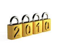 Safe new year. 3D render of padlocks isolated on white Vector Illustration