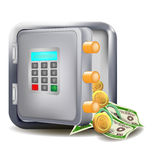 Safe open with more money electronic safe vector design.  Stock Images