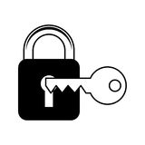 Safe padlock with key isolated icon Royalty Free Stock Image