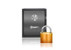 Safe and a padlock Stock Image