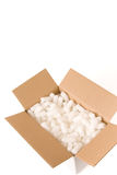 Safe parcel. Open parcel box filled with packaging material - clipping path included Stock Images
