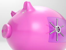 Safe Piggy Shows Money Savings Bank Protected Stock Image