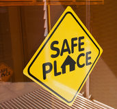 Safe Place Sign. On a glass door Royalty Free Stock Photos