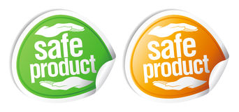 Safe product stickers. Safe product color stickers set Stock Photo