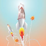 Safe rocket. And big explosion Royalty Free Stock Photography