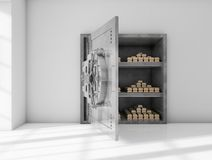 Safe room. Near to a window full of gold bars Stock Image