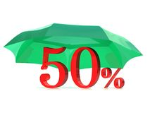 Safe sale. With umbrella and percents Royalty Free Stock Photos