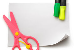 Safe scissors and markers on blank white paper Royalty Free Stock Photography