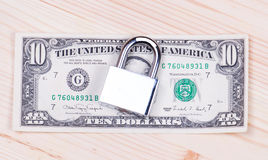Safe secure locked stack of hundred dollar bills Stock Photos