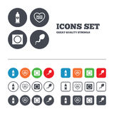 Safe sex love icons. Condom in package symbols Royalty Free Stock Images