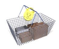 Safe shopping. Illustrated shopping basket containing boxes and locked with a padlock Royalty Free Stock Image