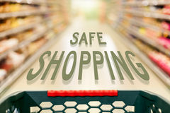 Safe shopping concept in supermarket Royalty Free Stock Photo