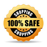 100 safe shopping gold seal. Vector illustration royalty free illustration