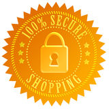 Safe shopping icon. Secure shopping icon isolated on white Stock Photography