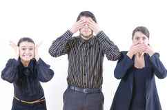 On the safe side. Three people living in ignorance Stock Images