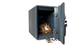 Safe and Sound. Picture of Isolated Fireproof Safe On White Background With Coins, Money 401K Nest Egg is Safe and Secure Royalty Free Stock Photo