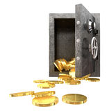 Safe Spilling Coins Front, Royalty Free Stock Image