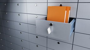 Safe storage of documents. Opened empty bank cel Stock Image