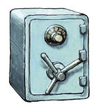 Safe. A strong fireproof cabinet with a complex lock, used for the storage of valuables Royalty Free Stock Photos