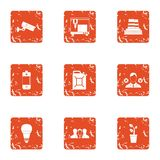 Safe surveillance icons set, grunge style. Safe surveillance icons set. Grunge set of 9 safe surveillance vector icons for web isolated on white background Royalty Free Stock Photos
