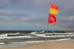 Safe swimming area flag near Palanga in Lithuania Stock Photography